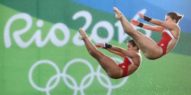 RIO DE JANEIRO, BRAZIL - AUGUST 09: Meaghan Benfeito and Roseline Filion of Canada compete in the Women's...