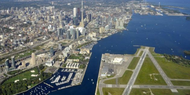 aerial view of Toronto Ontario, downtown and city Centre Airport
