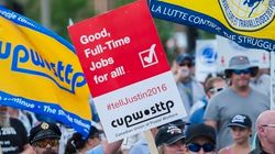 Canada Post Employees Protest At Trudeau's Montreal
