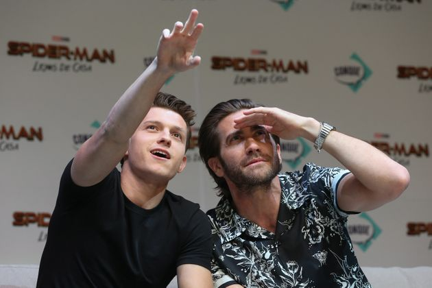 Tom Holland and Jake Gyllenhaal attend Conque 2019 to present the new film