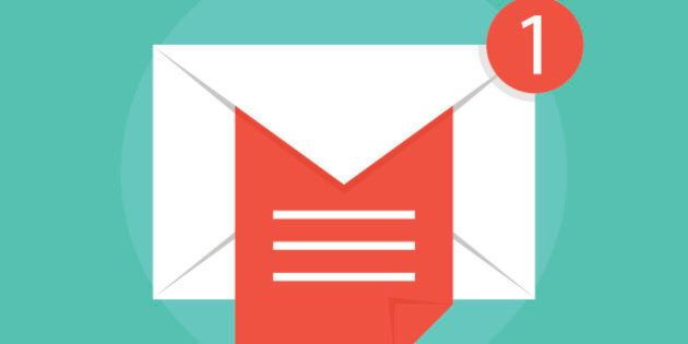 mail notice with white letter and red sheet. concept of support, spam, document, counter incoming, mobile...