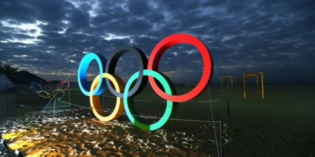 RIO DE JANEIRO, BRAZIL - AUGUST 02:  The Olmypic Rings are displayed at the Copacaba beach ahead of the Rio  2016 Olympic Games on August 2, 2016 in Rio de Janeiro, Brazil.  (Photo by Alexander Hassenstein/Getty Images)