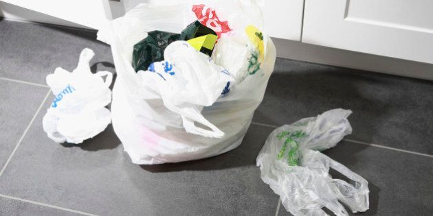 Domestic waste: free plastic shopping bags building
