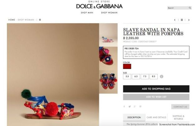 Dolce And Gabbana Release Offensive 'Slave'
