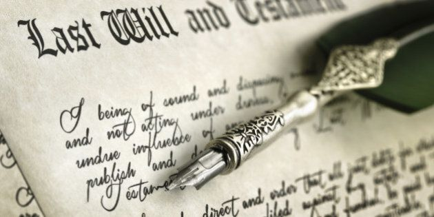 Last Will and Testament document with quill pen and