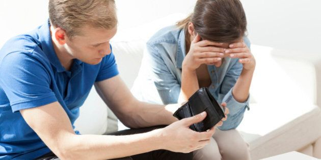 Poor couple with financial problems not having money