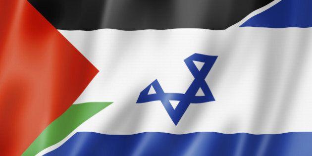 Mixed Palestine and Israel flag, three dimensional render, illustration