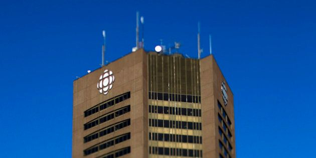 The Canadian Broadcasting Corp. (CBC) office stands in this photo taken with a tilt-shift lens in Montreal,...