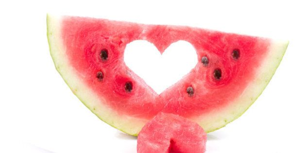 watermelon with heart isolated...