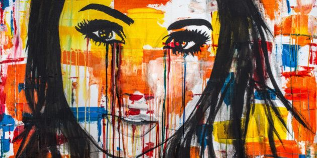 The unseen emotions of her innocence is an acrylic painting, Ink and watercolor on Canvas of a young...