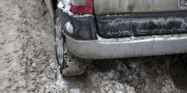 Car under the snow. Winter