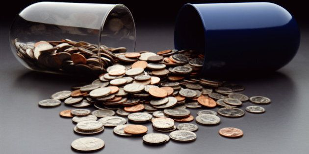 USA coins spilling out of broken