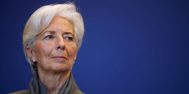 IMF Managing Director Christine Lagarde attends a news conference after a seminar on the international...