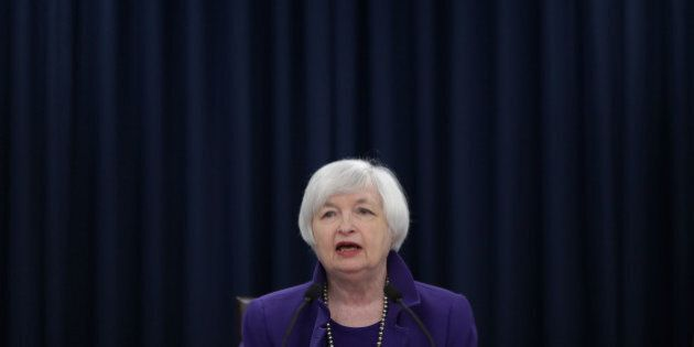 WASHINGTON, DC - DECEMBER 16: Federal Reserve Bank Chair Janet Yellen holds a news conference where she...