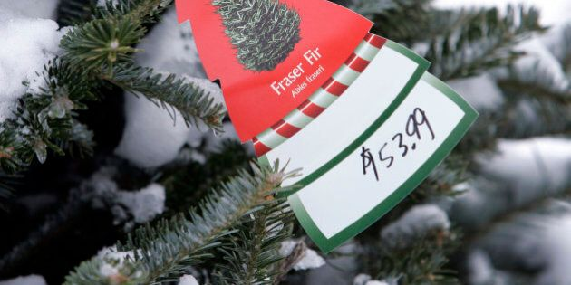 A price tag on a Fraser Fir Christmas tree is seen on a Canadian-grown tree for sale at Broadway Gardens,...