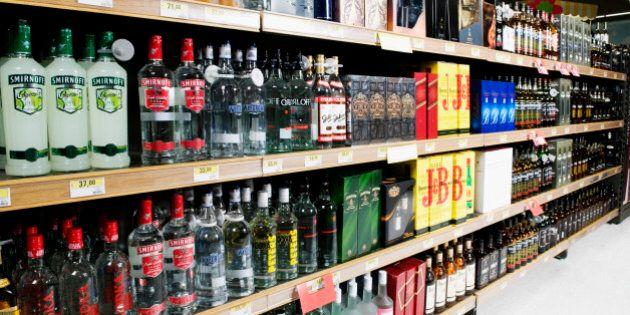 Bottles arranged in a liquor