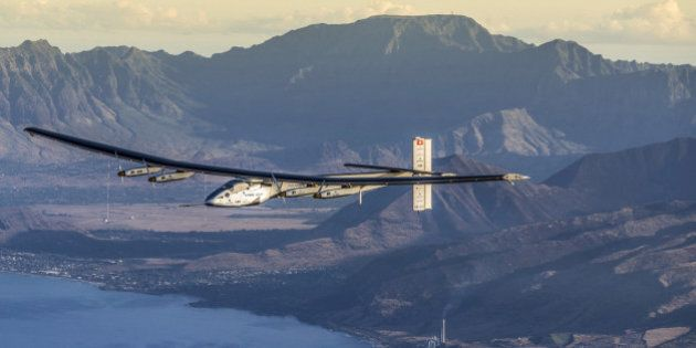 FILE PHOTO - The Solar Impulse 2 plane is seen on a maintenance flight over Hawaii performed by the test...