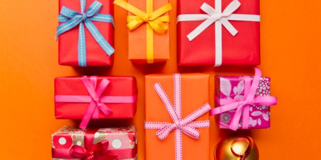 Festively wrapped Christmas gifts
