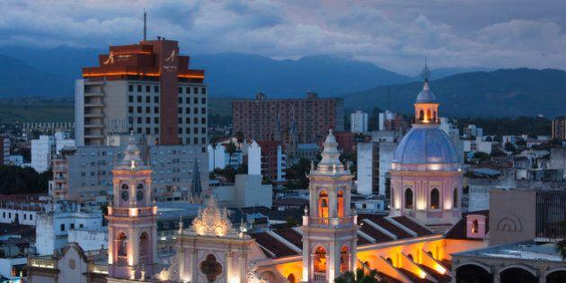 Argentina, Salta Province, Salta, Plaza 9 de Julio and Cathedral, aerial,