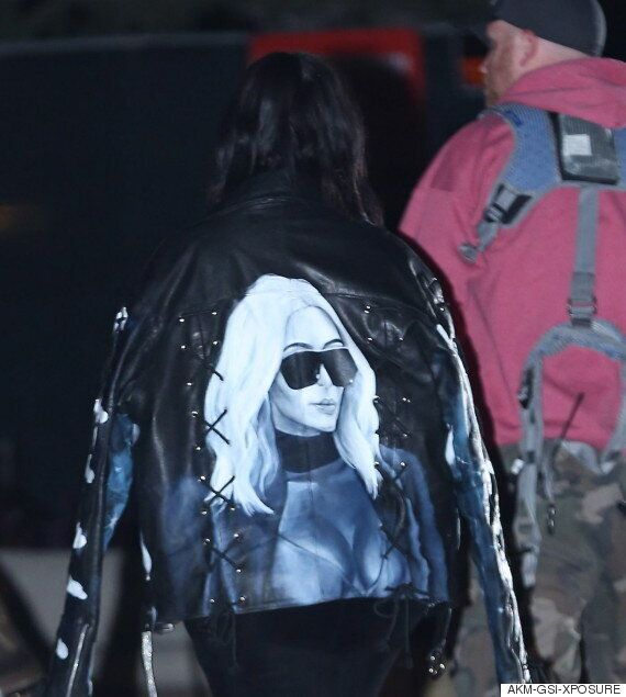 Kim Kardashian Steps Out In A Jacket Covered With Images Of Her