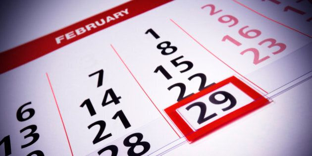 February 29th. Date which repeats on leap year. Calendar (rare days)