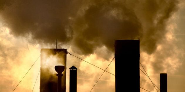 smoke steam pollution global warming stacks chimney tower and