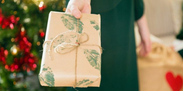 brown paper, natural, handmade, craft, ribbon, leaves, giving, torso, close up, indoors, christmas, lifestyles,...