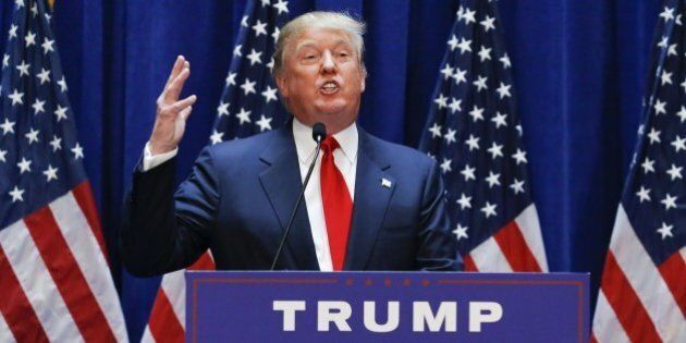 Real estate mogul Donald Trump announces his bid for the presidency in the 2016 presidential race during...