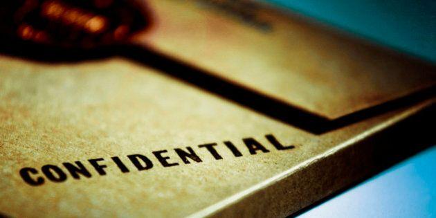 Close-up of a confidential