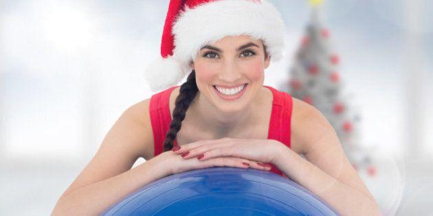 festive fit brunette leaning on