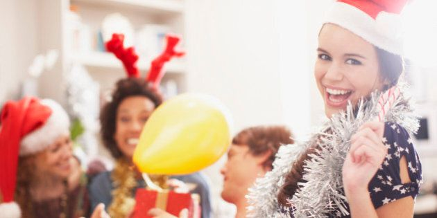 People enjoying Christmas party