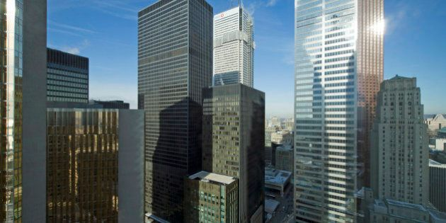 Tornto, Ontario downtown, TD Centre and Bay Street banking district seen from Brookfield Place office