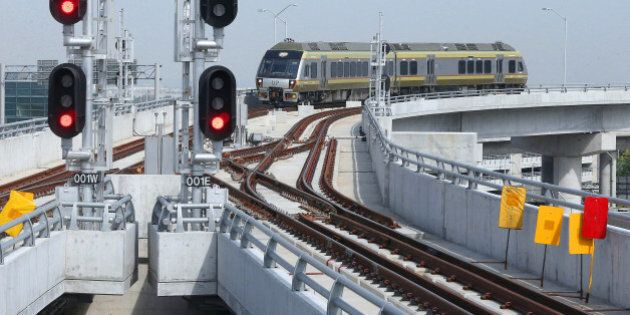 TORONTO, ON- MAY 25 - A train makes its way into Pearson International Airport as the Media get one more...