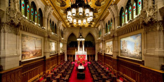 Overlooking the seat of the Canadian Senate, Parliament Hill, Ottawa Canada. The room is often called the Red Chamber.