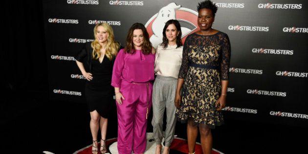 Kate McKinnon, from left, Melissa McCarthy, Kristen Wiig and Leslie Jones, cast members in the upcoming