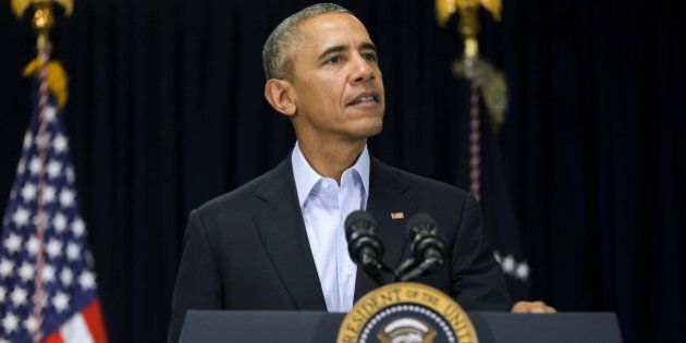 President Barack Obama walks to the podium to speak to reporters about the death of Supreme Court Justice...