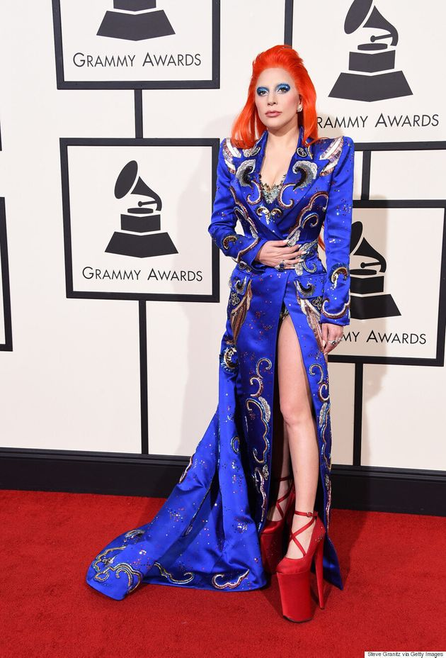 Lady Gaga's Grammys 2016 Bowie-Inspired Look Is Out Of This