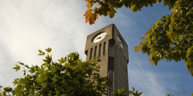 The clock tower on the campus of the University of British Columbia, UBC in