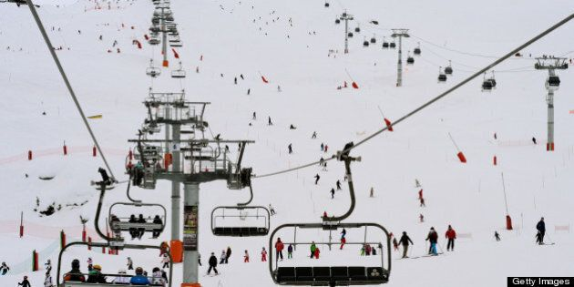 People enjoy the slopes at the French ski resort of Meribel in the French Alps on March 7, 2013. AFP...
