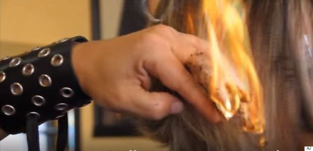 Spanish Hairdresser Uses Swords And Fire To Cut