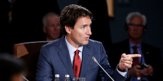 Canada's Prime Minister Justin Trudeau speaks during a plenary session at the North American Leaders'...