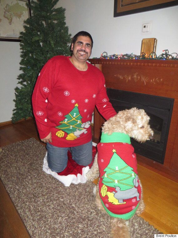 Matching Ugly Christmas Sweaters For Dog And Owner.Ugly Christmas Sweaters Are Going To The Dogs And Their