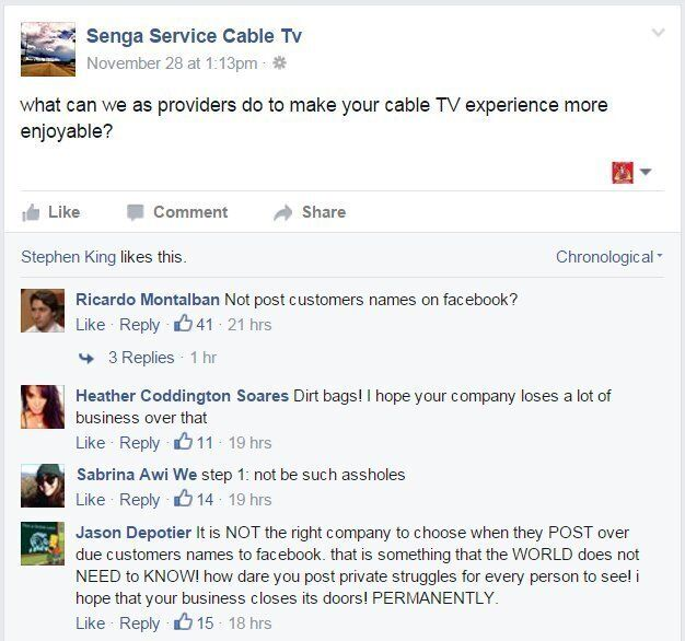 Senga Services Cable Company Told To Stop Shaming Overdue Customers On