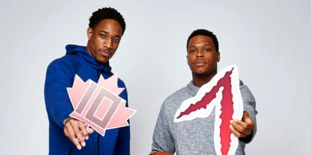 TORONTO, ON - FEBRUARY 11: DeMar DeRozan and Kyle Lowry of the Toronto Raptors poses with their twitter...