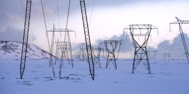 Power lines in snowy