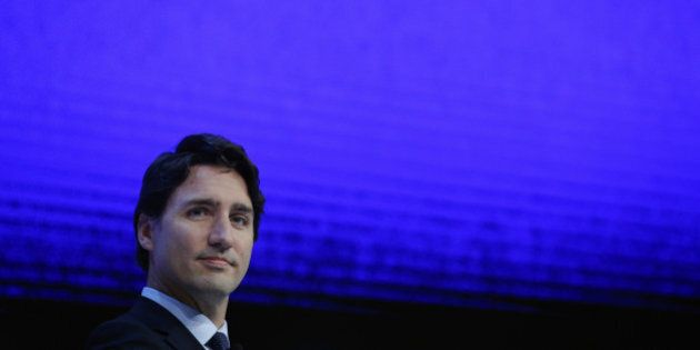 Justin Trudeau, Canada's prime minister, looks on during a special session at the World Economic Forum...