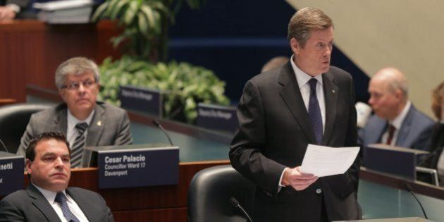 TORONTO, ON - MARCH 10: Mayor John Tory makes a case that the voters voted to keep taxes below the rate of inflation and urged that the city need to look at controlling cost overruns like the Spadina subway prior to asking the tax payers for more money. (Chris So/Toronto Star via Getty Images)