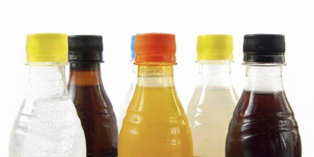 Soda bottles on white