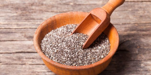 chia seeds close up in a wooden bowl