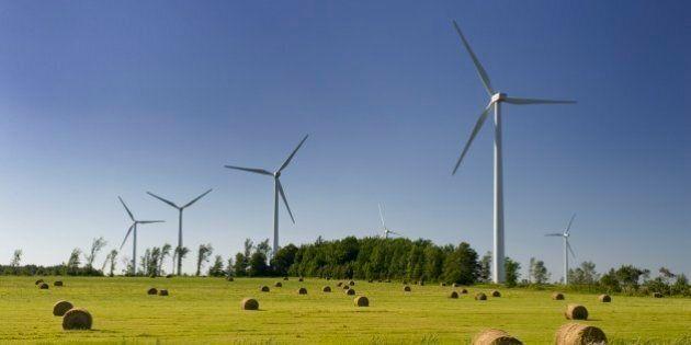 Electricity generating wind turbines in Shelburne, Ontario.